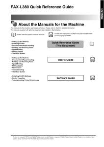 Canon L380 Quick Reference instruction manual (reprint)