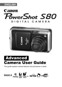 Canon PowerShot S80 instruction manual (reprint)