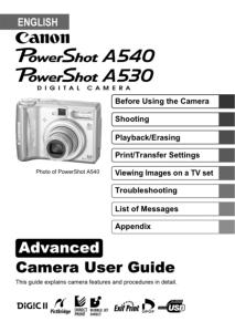 Canon PowerShot A530 / A540 instruction manual (reprint)