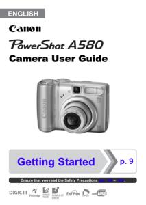 Canon PowerShot A580 IS instruction manual (reprint)