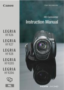 Canon HF R26 / HF R27 / HF R28 / HF R205 / HF R206 instruction manual (reprint)