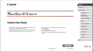 Canon PowerShot G1 X Mark III instruction manual (reprint)