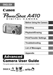 Canon PowerShot A410 instruction manual (reprint)