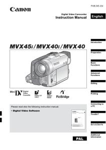 Canon MVX45i / MVX40i / MVX40 instruction manual (reprint)