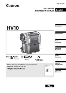 Canon HV10 instruction manual (reprint)