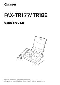 Canon FAX TR177/ 188 instruction manual (reprint)