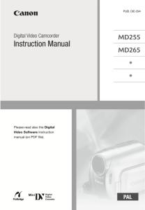 Canon MD255 / MD265 Camcorder instruction manual (reprint)