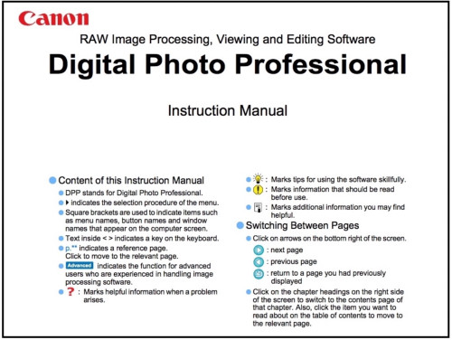 Canon Digital Photo Professional v4.12 (Mac OS) instruction manual (reprint)