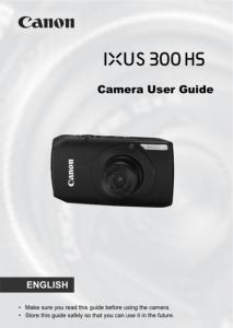 Canon IXUS 300 HS instruction manual (reprint)