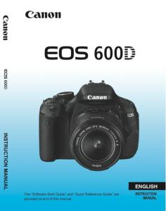 Canon EOS 600D instruction manual (reprint)