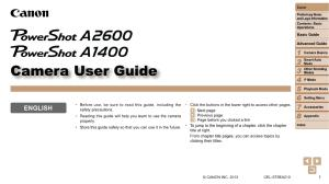 Canon PowerShot A2600 / A1400 instruction manual (reprint)