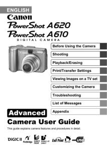 Canon PowerShot A610 / A620 instruction manual (reprint)