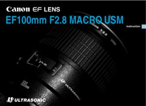 Canon EF 100mm f2.8 Macro USM instruction manual (reprint)