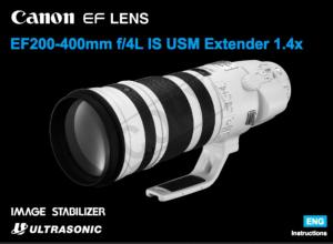 Canon EF 200-400mm f/4L IS USM Extender 1.4x instruction manual (reprint)