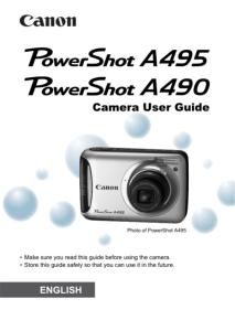 Canon PowerShot A495 / A490 instruction manual (reprint)