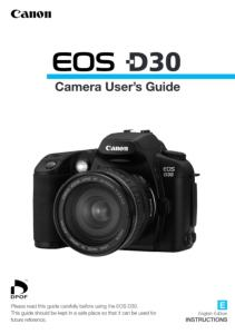 Canon EOS D30 instruction manual (reprint)