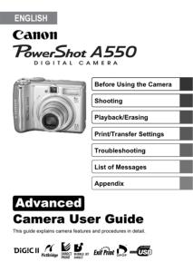 Canon PowerShot A550 instruction manual (reprint)
