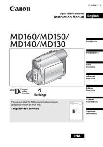 Canon MD 160 / MD150 / MD140 / MD130 instruction manual (reprint)