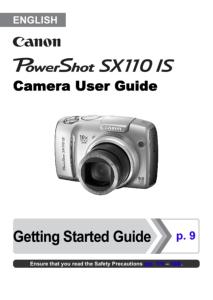 Canon PowerShot SX110 IS instruction manual (reprint)