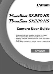 Canon PowerShot SX220 HS / SX230 HS instruction manual (reprint)