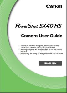 Canon PowerShot SX40 HS instruction manual (reprint)