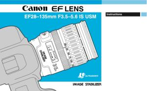 Canon EF 28mm-135mm f3.5-5.6 IS USM instruction manual (reprint)