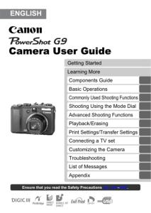 Canon PowerShot G9 instruction manual (reprint)