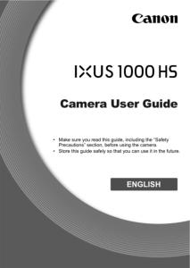 Canon IXUS 1000 HS instruction manual (reprint)