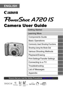 Canon PowerShot A720 IS instruction manual (reprint)
