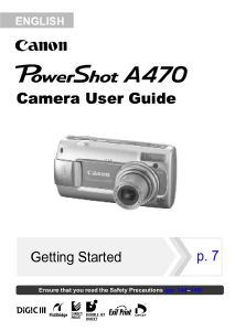 Canon PowerShot A470 instruction manual (reprint)