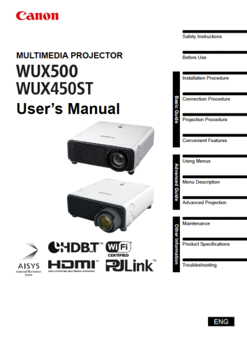 Canon XEED WUX500 instruction manual (reprint)