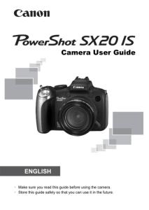Canon PowerShot SX20 IS instruction manual (reprint)