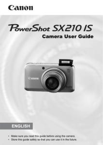 Canon PowerShot SX210 IS instruction manual (reprint)