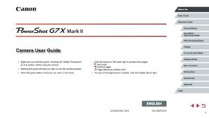 Canon PowerShot G7 X Mark II instruction manual (reprint)