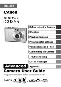 Canon IXUS 55 instruction manual (reprint)