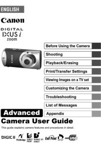 Canon IXUS i Zoom instruction manual (reprint)