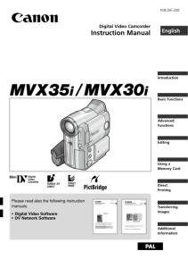Canon MVX35i / MVX30i instruction manual (reprint)