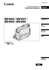 Canon MV920 / MV901 / MV900 / MV890 instruction manual (reprint)