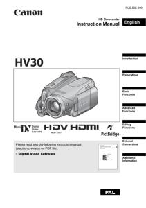 Canon HV30 Camcorder instruction manual (reprint)