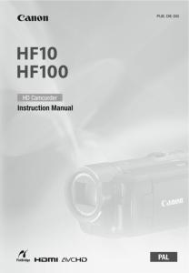 Canon HF10 / HF100 Camcorder instruction manual (reprint)