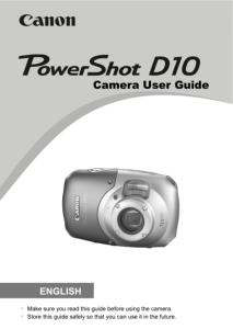 Canon PowerShot D10 instruction manual (reprint)