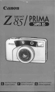 Canon Sureshot Z85 instruction manual (reprint)