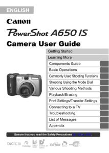 Canon PowerShot A650 IS instruction manual (reprint)