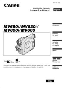 Canon MV650i / MV630i / MV600i / MV600 instruction manual (reprint)