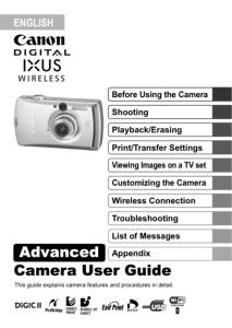 Canon IXUS Wireless instruction manual (reprint)