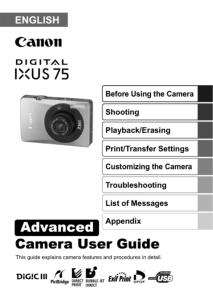 Canon IXUS 75 instruction manual (reprint)