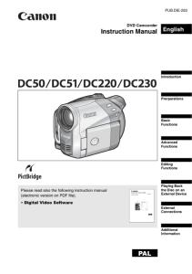 Canon E100 / E110 instruction manual (reprint)