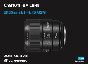 Canon EF 85mm f1.4L IS USM instruction manual (reprint)
