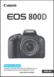 Canon EOS 800D instruction manual (reprint)