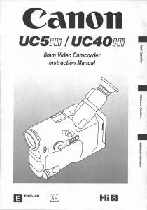 Canon UC5 Hi / UC40 Hi instruction manual (reprint)